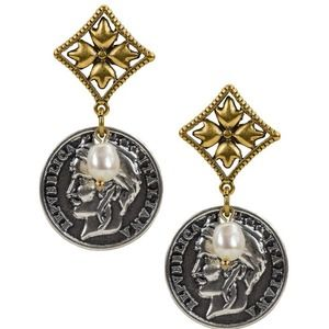 Patricia Nash World Coin Freshwater Pearl Earrings
